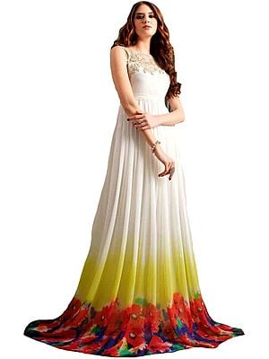 Snow-White Floral Printed Gown with Zari-Embroidery on Neck