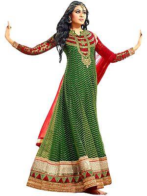 Fairway-Green Designer Heavy Anarkali Suit with Dense Zari-Embroidery