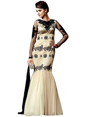 Black and Ivory Designer Gown with Ari-Embroidery and Sequins