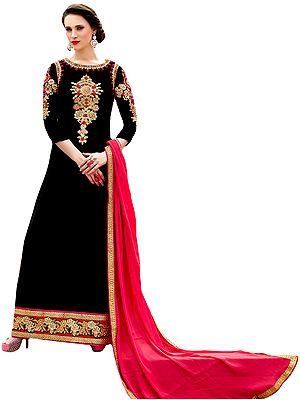 Jet-Black Designer Floor Length Choodidaar Kameez Suit with Floral Embroidery in Zari Thread