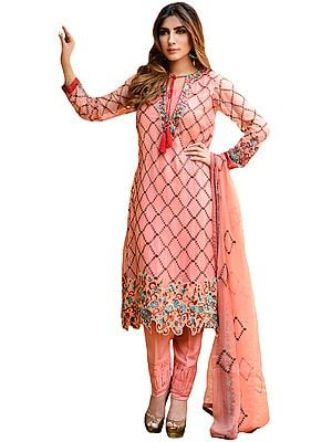 Crabapple-Pink Embroidered Parallel Salwar Suit with Cut-work on Border