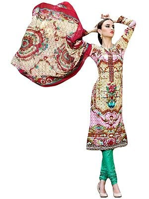 Cream and Green Choodidaar Kameez Suit with Floral Print and Chiffon Dupatta
