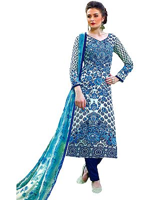 White and Blue Floral Printed Choodidaar Kameez Suit with Chiffon Dupatta
