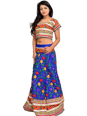 Blue and Pink Two-Piece Lehenga Choli with Ari Floral Embroidery and Wide Patch Border