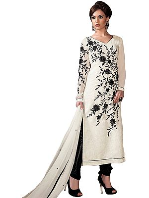 Ivory and Black Long Choodidaar Kameez Suit with Embroidered Flowers and Sequins