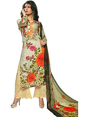 Cream Long Parallel Salwar Suit with Printed Flowers and Embroidery on Salwar