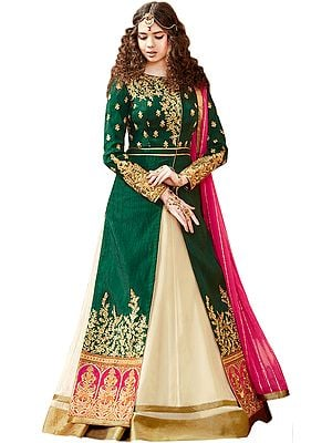 Green and Cream Designer Anarkali Suit with Floral Zari-Embroidered Long Jacket and Sequins