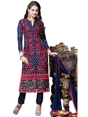 Eclipse-Blue Floral Embroidered Long Choodidaar Kameez Suit with Chiffon Dupatta
