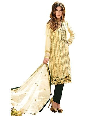 Ivory and Dark-Green Choodidaar Kameez Suit with Zari-Embroidery All-Over and Sequins