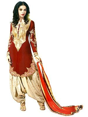Maroon and Sandshell Wedding Salwar Kameez Suit with Zari-Embroiderd Patch on Neck and Border
