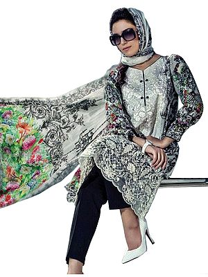 White and Black Parallel Salwar Suit with Floral Print and Chiffon Dupatta