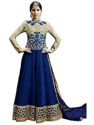 Cream and Blue Designer Anarkali Suit with Zari-Embroidered Roses and Sequined Wide Border