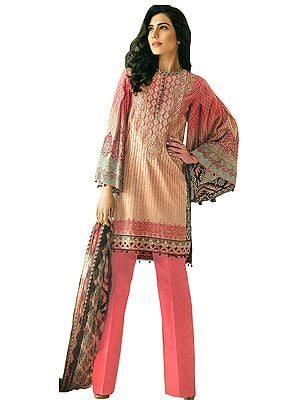 Crème-Brulee and Pink Printed Stylish Parallel Salwar Suit with Chiffon Dupatta