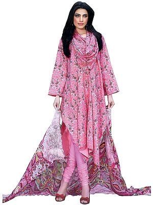 Pink and White Stylish Choodidaar Kameez Suit with Printed Flowers All-Over