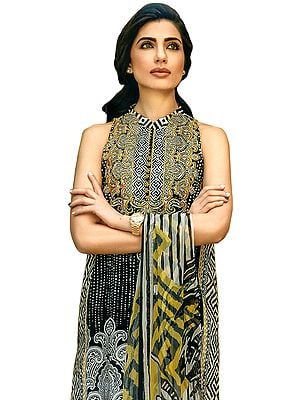 Jet-Black Salwar Kameez Suit with Floral Print and Chiffon Dupatta