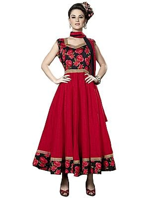 Red and Black Anarkali Suit with Printed Roses and Gota Border