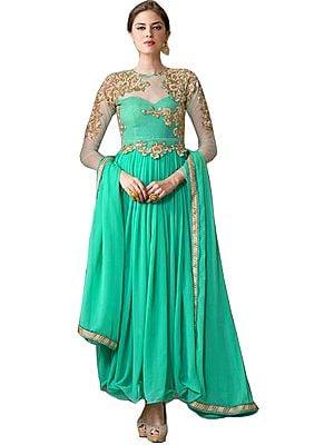 Aqua-Green Designer Anarkali Suit with Floral-Embroidery in Zari Thread