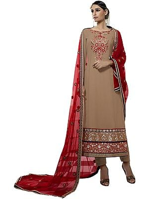 Beige and Red Long Trouser Salwar Kameez Suit with Embroidery in Zari and Net Dupatta
