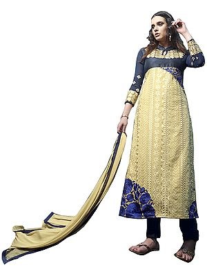 Dark-Blue and Cream Long Chudidar Kameez Suit with Floral Embroidery