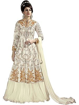 Ivory Designer Lehenga Suit with Floral Embroidery in Zari and Crystals