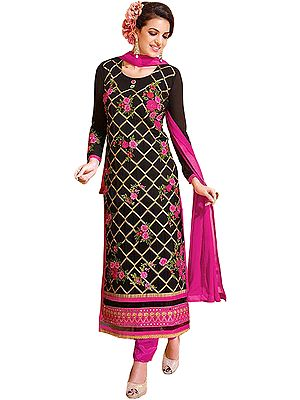 Black and Pink Long Chudidar Kameez Suit with Zari-Embroidery and Mirrors on Border
