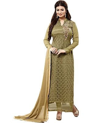 Gothic-Olive Ayesha Long Chudidar Kameez Suit with Chikan Embroidery and Zardozi Patch