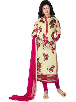 Ivory and Pink Ayesha Long Chudidar Kameez Suit with Embroidered Flowers and Net Border