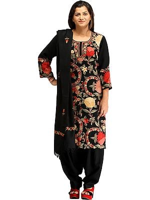 Jet-Black Kashmiri Salwar Kameez Suit with Ari Hand-Embroidered Flowers