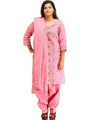 Sachet-Pink Kantha Hand-Embroidered Salwar Kameez Suit from Kolkata