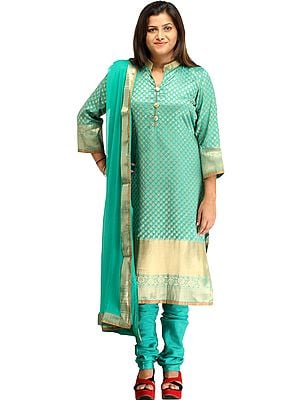 Turquoise-Green Banarasi Chudidar Kameez Suit with Zari Woven Bootis and Golden Border