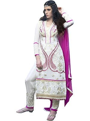 White and Pink Long Trouser Salwar Kameez Suit with Embroidery in Golden Thread and Crystals