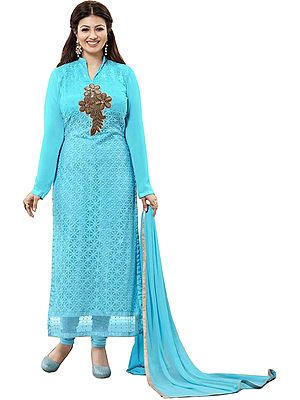 Plume-Blue Ayesha Chikan Embroidered Long Choodidaar Kameez Suit with Beads-Embroidered Floral Patch
