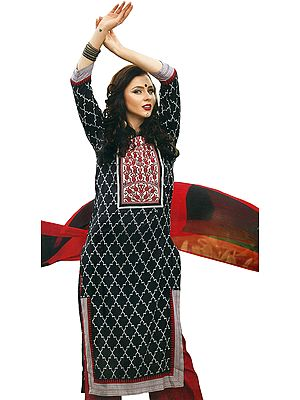 Black and Red Ikat-Printed Parallel Salwar Suit with Embroidered Patch on Neck and Mirrors