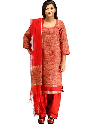 Rococco-Red Salwar Kameez Suit from Banaras with Printed Spirals