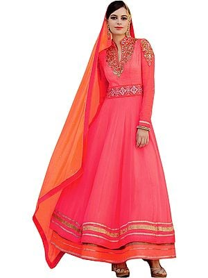 Bright-Pink and Orange Designer Double Layered Anarkali Suit with Zari-Embroidered Patches and Stone-work