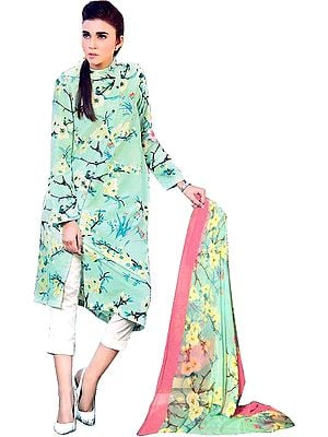 Brook-Green and Ivory Stylish Parallel Salwar Suit with Digital-Print and Chiffon Dupatta