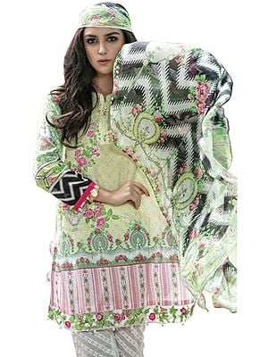 Sharp-Green Parallel Salwar Suit with Floral Print and Chiffon Dupatta