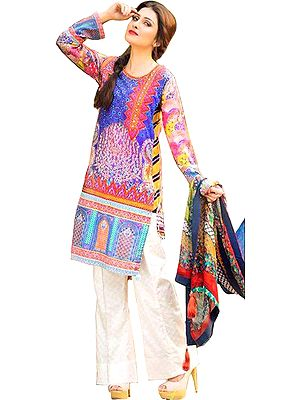 Multicolored Floral Printed Palazzo Salwar Suit