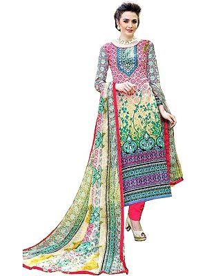 Multicolored Digital-Printed Long Choodidaar Kameez Suit with Chiffon Dupatta