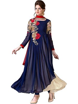Dark-Blue and Ivory Designer Double-Layered Anarkali Suit with Zari Floral-Embroidery and Crystals