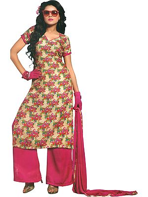 Parchment and Pink Floral-Printed Long Palazzo Salwar Suit with Chiffon Dupatta