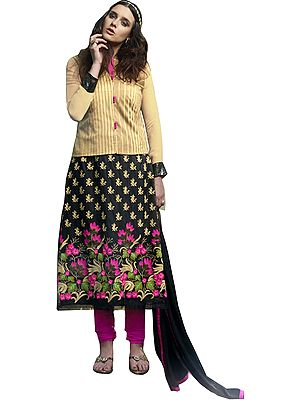 Biscotti and Black  Long Chudidar Kameez Suit with Embroidered Flowers and Sequins
