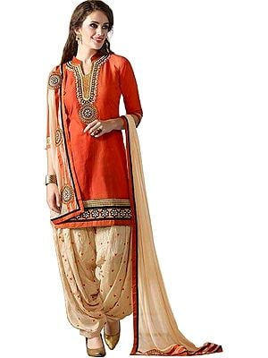 Orange-Rust and Cream Patiala Salwar Kameez Suit with Embroidered Patches and Bootis on Salwar