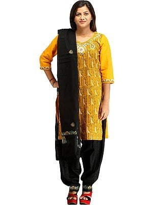 Marigold and Black Salwar Kameez Suit from Kolkata with Kantha-Embroidery by Hand