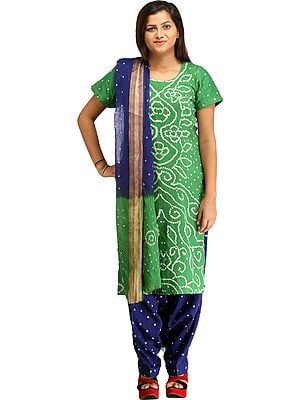 Green and Blue Bandhani Tie-Dye Salwar Kameez Suit from Gujarat