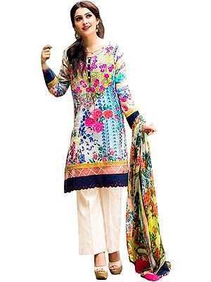 Ivory Palazzo Salwar Suit with Printed Flowers