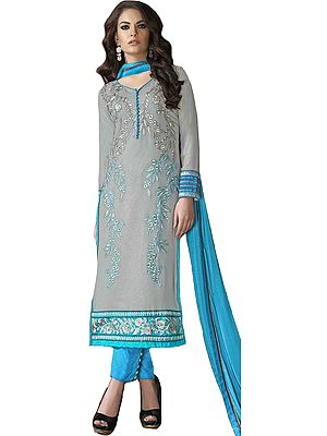 Gray and Blue Shimmer Long Trouser Salwar Kameez Suit with Floral Zari-Embroidery and Patch Border