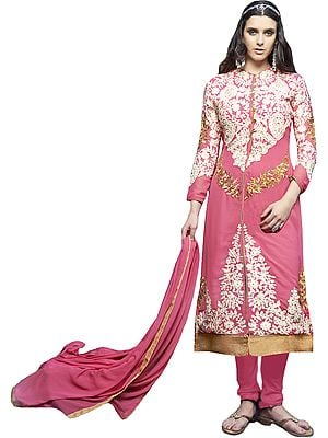 Pink-Carnation Long Choodidaar Kameez Suit with Ari-Embroidery and Crystals