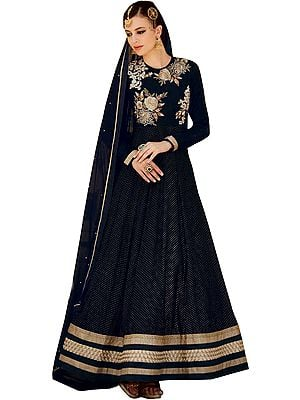 Jet-Black Designer Anarkali Suit with Floral Beads-Embroidery and Small Polka Dots