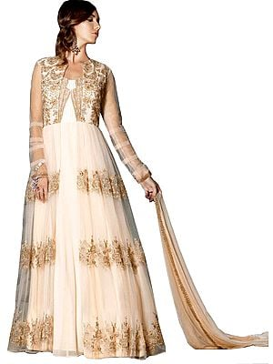 Linen-Pink Designer Two-Piece Gown with Floral Golden-Embroidery and Crystals